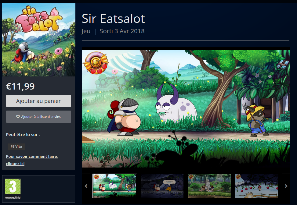 Playstation Store page for Sir Eatsalot